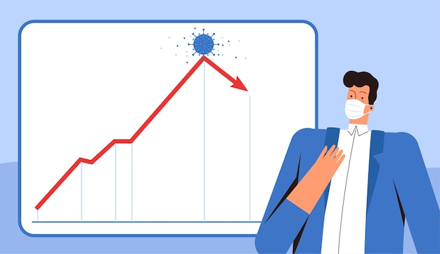 A young businessman in a medical mask is shocked by the collapse of the global economy and the financial crisis due to the 2019-ncov coronavirus. falling stock chart.