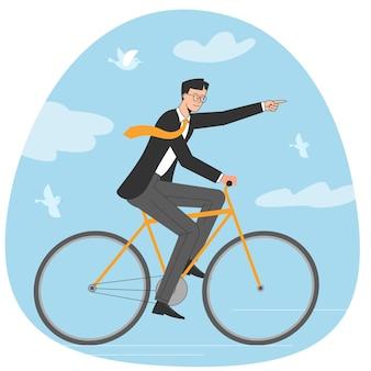 Молодой бизнесмен двигаться к цели, езда на велосипеде