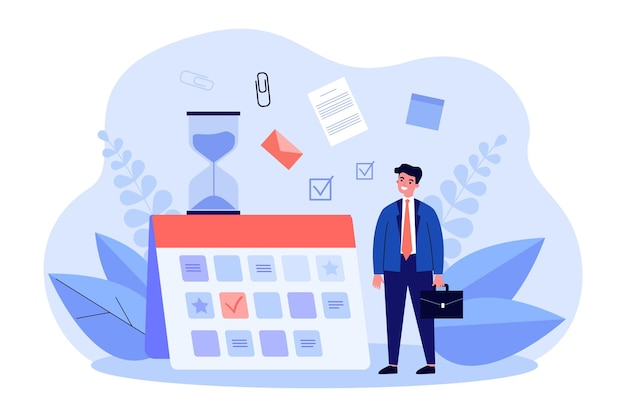 Young businessman planning work schedule. flat vector illustration. tiny man standing next to giant calendar full of tasks, goals and events. planning, business, schedule concept for banner design