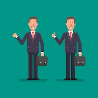 Young businessman points showing thumbs up and holds suitcase. business people. vector illustration.