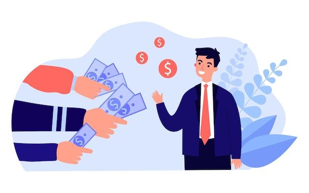 Молодой бизнесмен получает много выгодных денежных предложений. плоские векторные иллюстрации. многие руки протягивают банкноты и монеты мужчине в костюме. деньги, спрос, профессия, финансовый успех, концепция