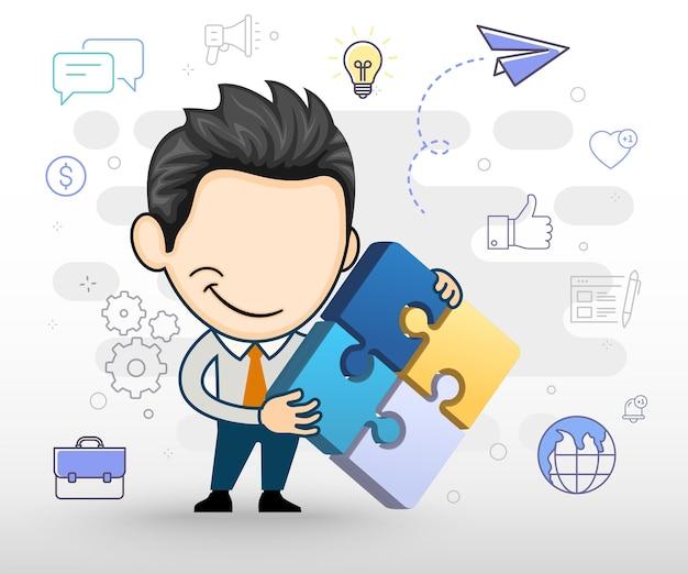 3dの形でパズルを示す青年実業家漫画スタイルのビジネスコンセプトイラスト