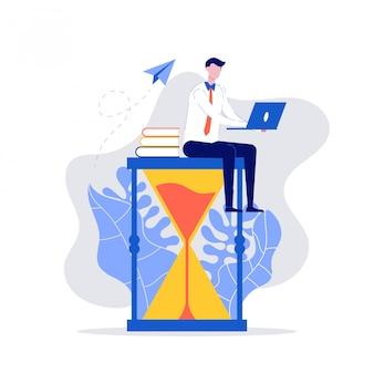 砂時計の上に座って、彼女のラップトップで働く青年実業家。時間管理、マルチタスク、生産性、計画、および期限の概念。