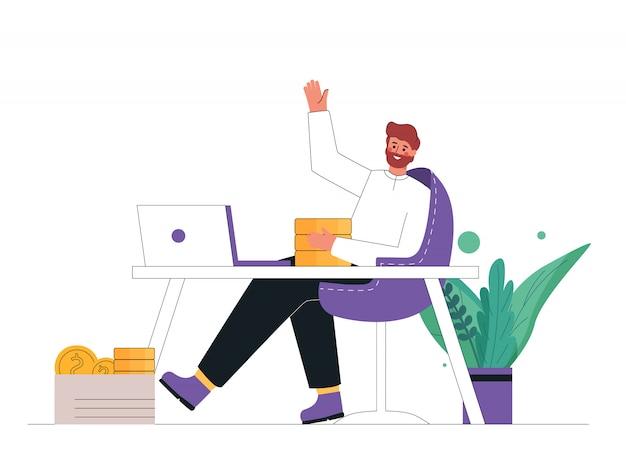 Молодой предприниматель сидит, расслабляющий и пассивно зарабатывать деньги.