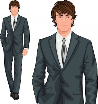 Young businessman standing character