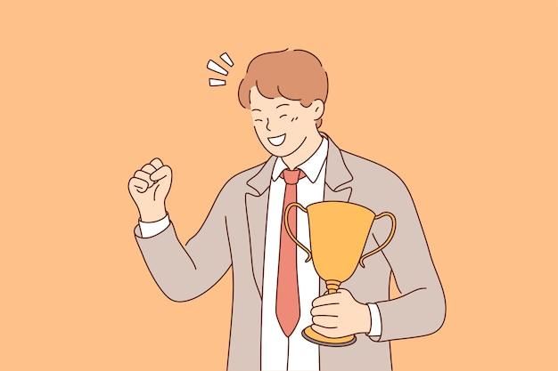 Молодой бизнесмен стоит с чашкой