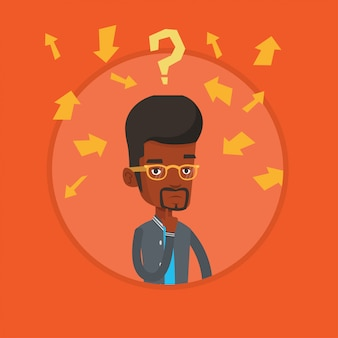 Young businessman thinking vector illustration.