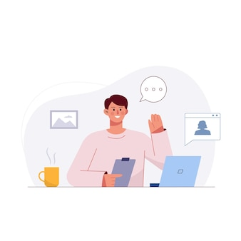 自宅で仕事をしながら、ラップトップを使用してビデオ通話会議で同僚と話す青年実業家