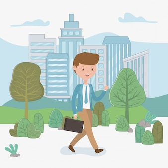 Young businessman walking in the park