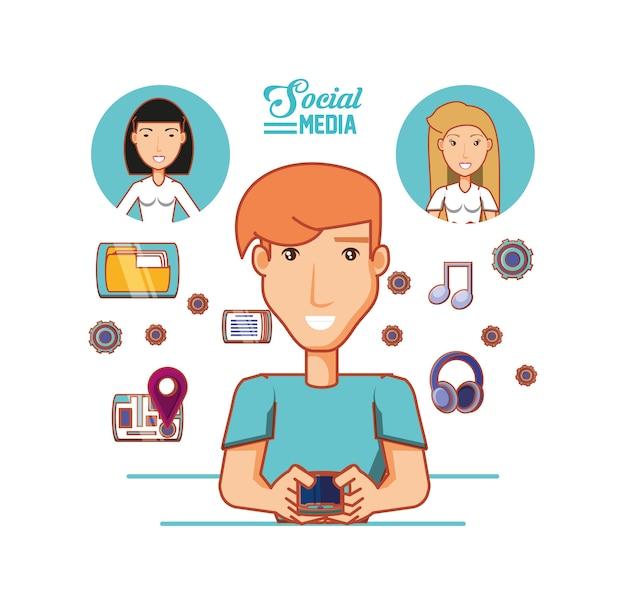 소셜 미디어 아이콘으로 젊은 사업가