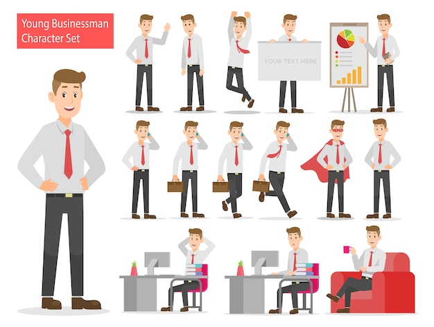 Young businessman working character design set