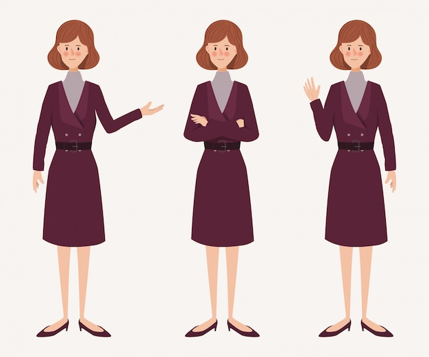 Young businesswoman in character pose. hand drawn character people.