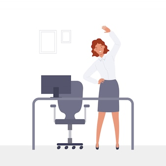 Young businesswoman doing exercises at workplace.