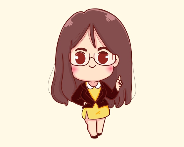 Young businesswoman finger point up cartoon illustration