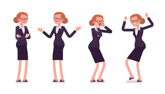 Young businesswoman in formal wear expressing negative emotions, different poses