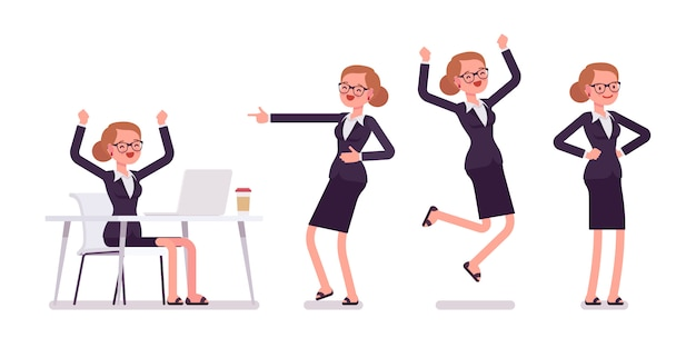 Young businesswoman formal wear expressing positive emotions, different poses