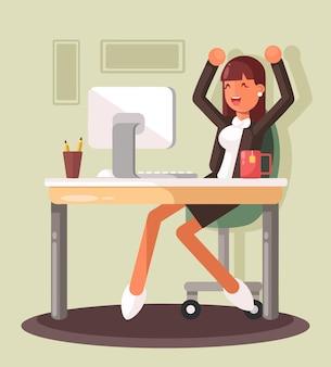 Молодой предприниматель, работающий на ноутбуке над новой бизнес-идеей. успешная бизнес-иллюстрация