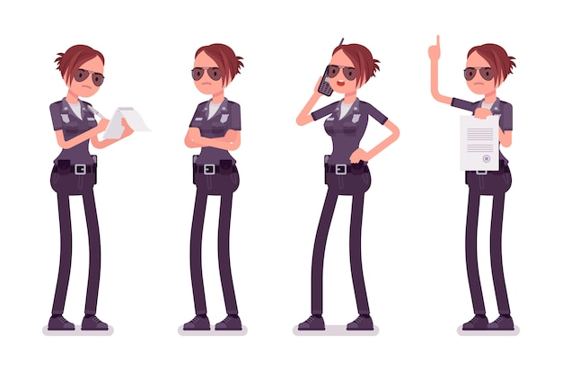 Young busy policewoman