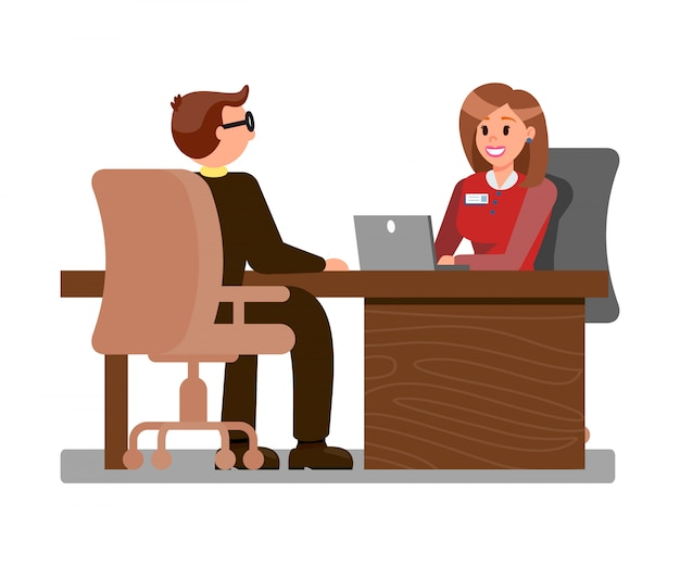 Young candidate at job interview flat illustration