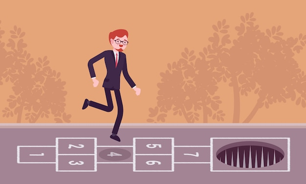 Young carefree businessman playing hopscotch, pale in front