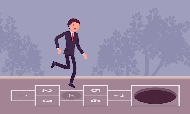 Young carefree businessman playing hopscotch, pit in front