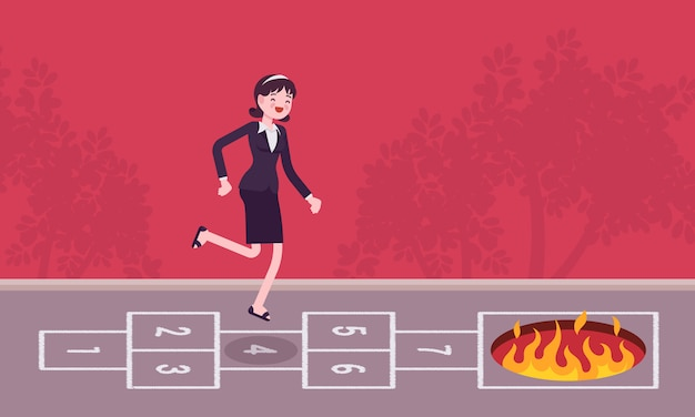 Young carefree businesswoman playing hopscotch, fire in front