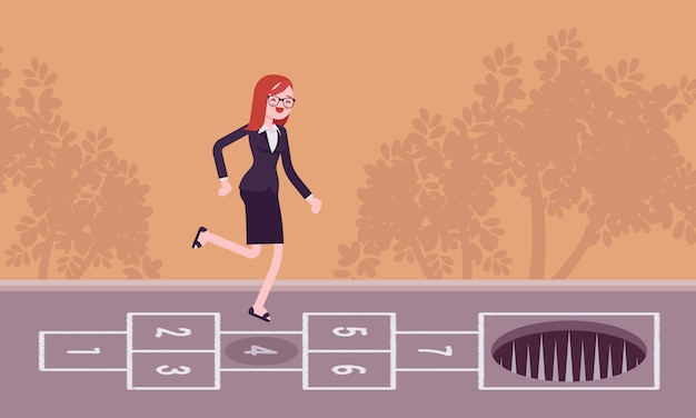 Young carefree businesswoman playing hopscotch, pale in front