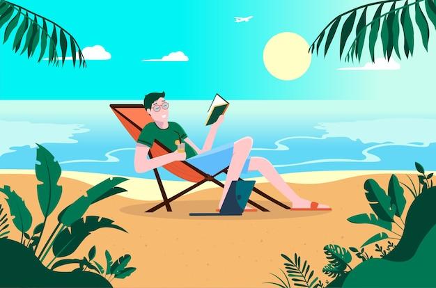 Молодой беззаботный мужчина отдыхает на пляже с книгой и напитком в руке