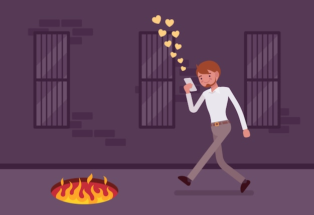 Young carefree man walking with phone, fire pit in front