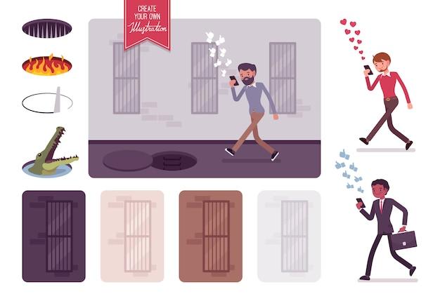 Молодой беззаботный человек, идущий с телефоном, невидимая опасность впереди