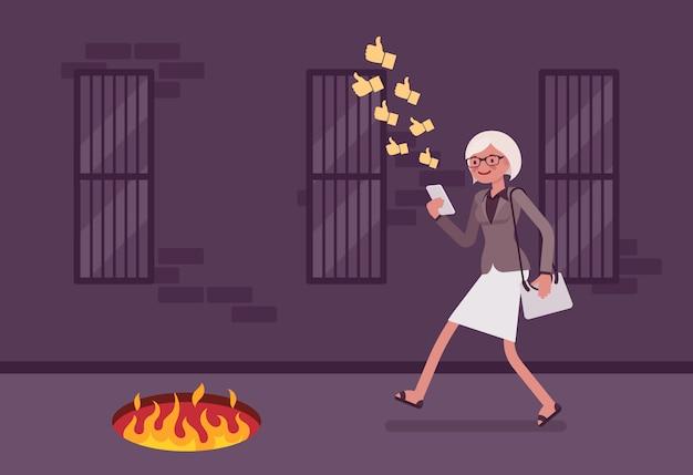 Молодая беззаботная женщина, идущая с телефоном, ямой огня перед