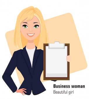 Young cartoon businesswoman holding clipboard