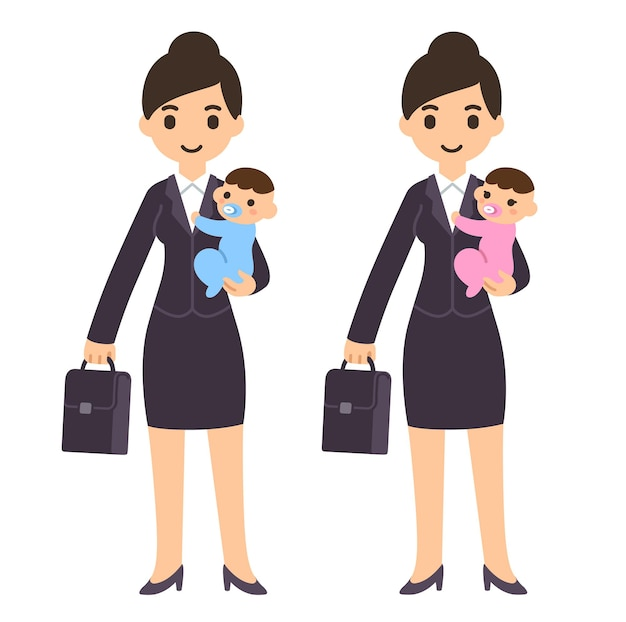 赤ちゃんを抱いてスーツケースとスーツの若い漫画実業家の母親
