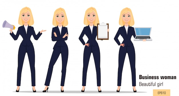 Young cartoon businesswoman set.