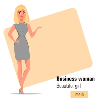 Young cartoon businesswoman wearing strict gray dress