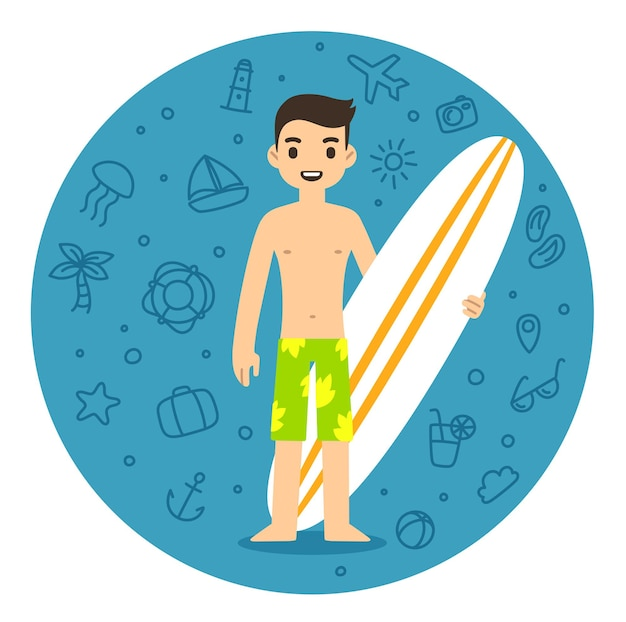 Young cartoon man on beach with surfboard