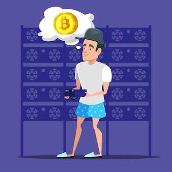 Молодой мультяшный человек биткойн-майнер в серверной комнате