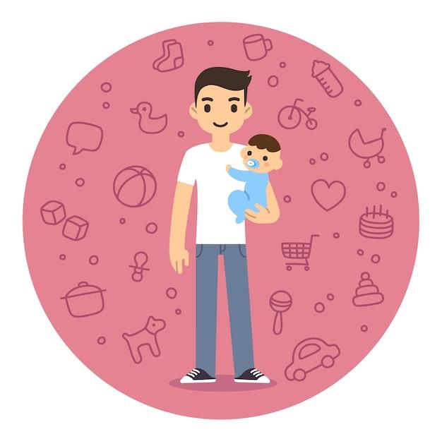 男の子を抱きかかえた若い漫画の男