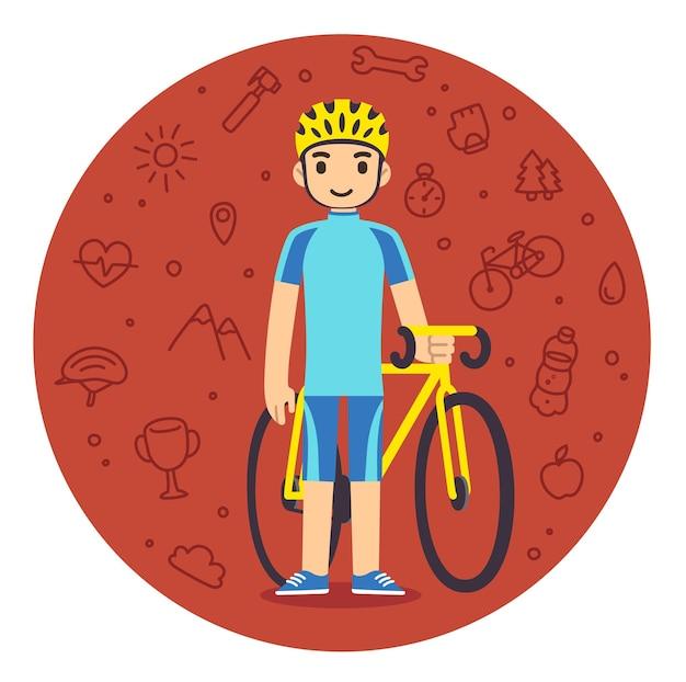 自転車でフィットネス ギアの若い漫画男