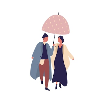Young casual cartoon couple walking under umbrella at rainy day flat illustration. man and woman character in stylish coat outfit at autumn season isolated on white background.
