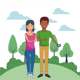 Young casual couple cartoon