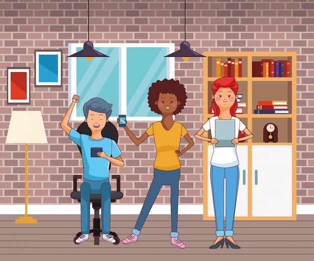 Young casual people cartoon