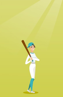 Young caucasian baseball player with a bat.