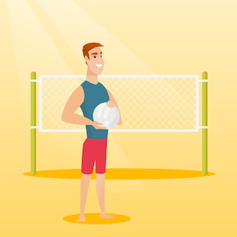 Young caucasian beach volleyball player.