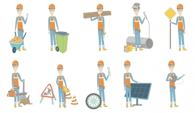 Young caucasian builder character set
