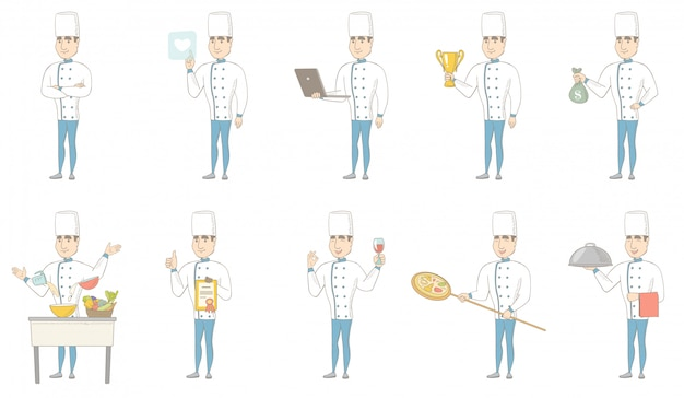 Young caucasian chef character set