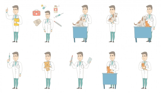 Young caucasian doctor character set