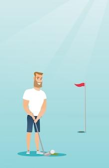 Young caucasian golfer hitting a ball.