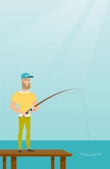 Young caucasian man fishing on jetty