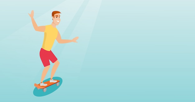 Young caucasian man riding skateboard.